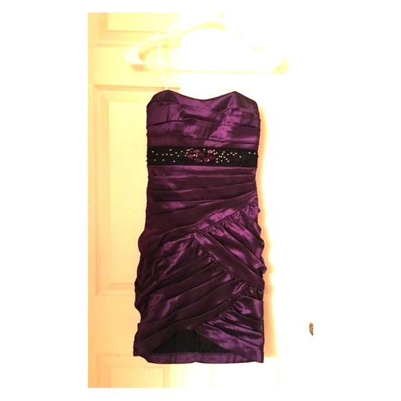 0aae499fc Dresses | Macys Juniors Purple Strapless Bodycon Dress | Poshmark